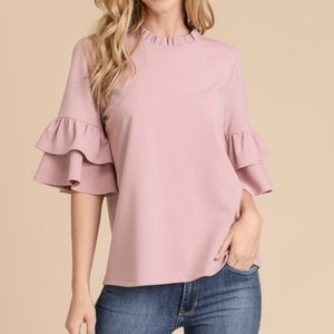 Rose Short Ruffle Sleeve and Neck Top